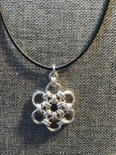 Sterling Silver Snowflake (Bold 16 Gauge) and Black Leather Cord