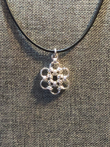 Sterling Silver Snowflake (UItra Fine 20 Gauge) and Black Leather Cord