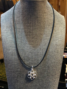 Sterling Silver Snowflake (Fine 18 Gauge) and Black Leather Cord