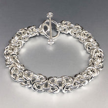 Seaxwolf extra chunky 12 gauge handcrafted  Byzantine bracelet with designer clasp for men and women.
