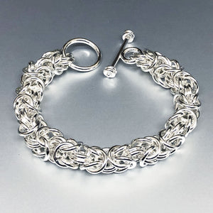 Seaxwolf big thick 12 gauge handcrafted  Byzantine chain jewelry with designer clasp for men and women.