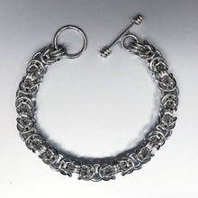 Seaxwolf handmade chunky sterling silver Byzantine III chain with designer clasp for men and women.