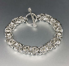 Seaxwolf handmade extra chunky sterling silver Byzantine chain mail bracelet with designer clasp for men and women.