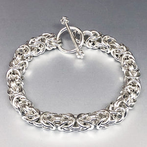 Seaxwolf handcrafted grand sterling silver Byzantine chain for men and women.