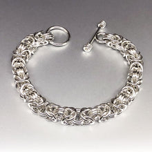 Seaxwolf handcrafted 925 sterling silver Byzantine III (3) bracelet with designer clasp for men and women.