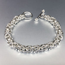 Seaxwolf handmade thick sterling silver Byzantine bracelet for men and women.