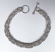 Seaxwolf bold handmade Byzantine chain bracelet of solid 925 sterling silver.