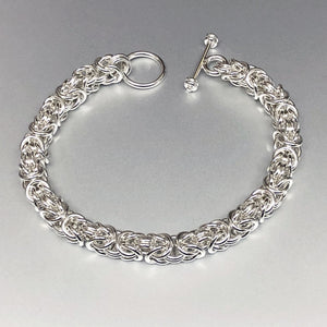 Seaxwolf bold handcrafted sterling silver Byzantine chain bracelet.