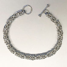 Seaxwolf artisanal 18 gauge handmade 925 sterling silver Byzantine chain bracelet with toggle clasp.