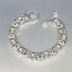 Seaxwolf handcrafted chunky sterling silver Byzantine necklace with designer clasp for men and women.