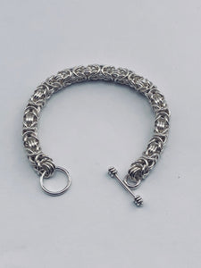 Seaxwolf handmade fine jewelry signature Byzantine III (3) solid sterling silver chain mail bracelet.