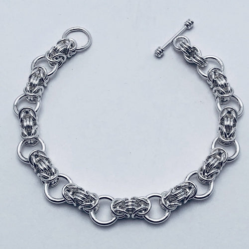 Byzantine Collette Solid Sterling Silver Chain Mail Bracelet Handmade by seaXwolf