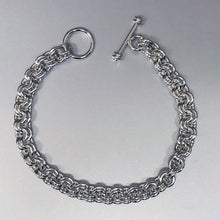 Seaxwolf handcrafted solid sterling silver double link bracelet with designer clasp.