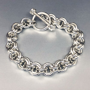 Seaxwolf clasped handcrafted extra chunky sterling silver 12 gauge double link bracelet with designer clasp for men and women.