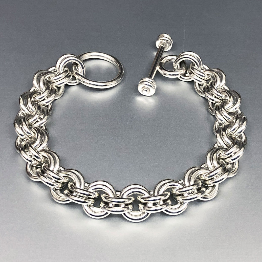Seaxwolf handcrafted extra chunky sterling silver 12 gauge double link bracelet with designer clasp for men and women.