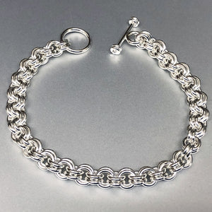 Seaxwolf handcrafted 16 gauge sterling silver double link chain with designer clasp for men and women.