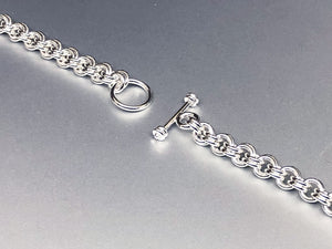 Seaxwolf handmade bold sterling silver double link chain bracelet with matching clasp for men and women.