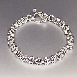 Seaxwolf handcrafted bold sterling silver double link chain  for men and women.
