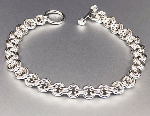 Seaxwolf handcrafted chunky sterling silver double link bracelet with designer clasp for men and women.