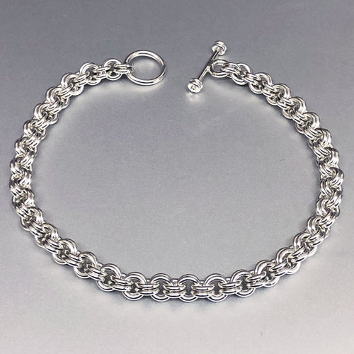 Seaxwolf handcrafted sterling silver double link fine chain for men and women.
