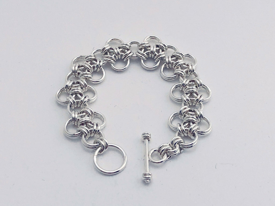 Sterling Silver HexaFleur Diamonds Bracelet - Bold 16 Gauge