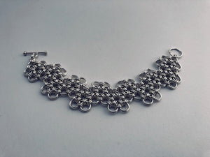seaXwolf handmade fine jewelry HexaFleur Undulating, solid sterling silver chain mail flower bracelet.