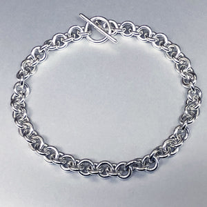 Sterling Silver Single Link (Close) Chain Bracelet, Grand 14 Gauge