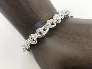 Sterling Silver 18 Gauge Twisted Roses Bracelet