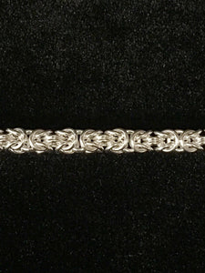 Closeup of design - Seaxwolf quality Byzantine 2 chain bracelet for men and women in solid 925 sterling silver from handmade links and handcrafted toggle clasp.