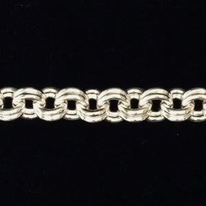 Closeup of Sterling silver fine double link claspless necklace by seaXwolf Handmade Fine Jewelry