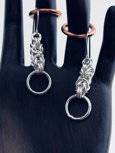Sterling Silver 18 Gauge Byzantine II Earrings-Medium Loop