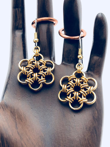Brass 18 Gauge HexaFleur Snowflake Earrings
