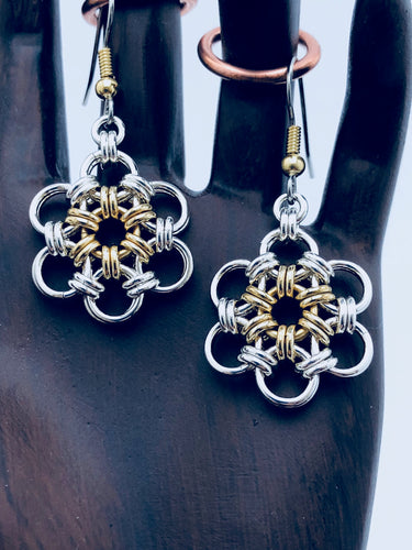 Sterling Silver 18 Gauge HexaFleur Daisy Earrings