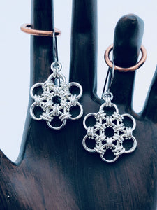 Sterling Silver 18 Gauge HexaFleur Snowflake Earrings