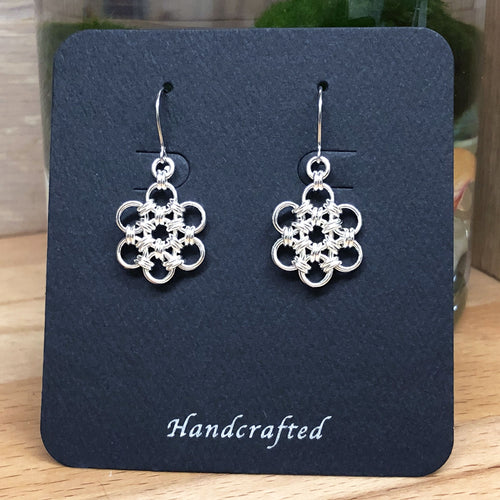 Sterling Silver HexaFleur Snowflake Earrings - Ultra Fine 20 Gauge