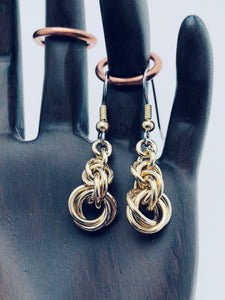 "Brass 16 Gauge Triple Twist ""Twisted Roses"" Earrings"