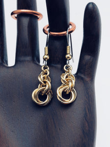 "Brass 18 Gauge Triple Twist ""Twisted Roses"" Earrings"