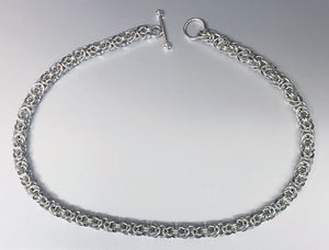 Seaxwolf handcrafted sterling silver Byzantine chain necklace with designer clasp for men and women.