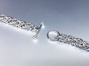 Seaxwolf handcrafted 925 sterling silver Byzantine necklace with designer clasp for men and women.