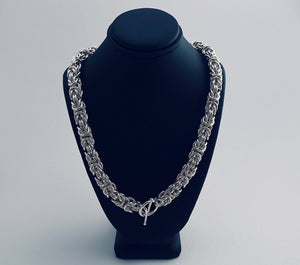 Seaxwolf fine jewelry chunky Byzantine 2 chain necklace for men and women in solid 925 sterling silver from handmade links and handcrafted toggle clasp.