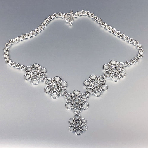 Sterling Silver HexaFleur Daisy Chain Necklace - Bold 16 Gauge