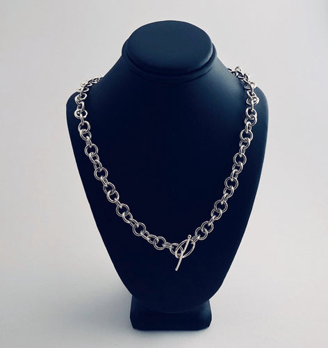 Seaxwolf classy single link chain necklace for men and women in solid 925 sterling silver from handmade links and handcrafted toggle clasp.