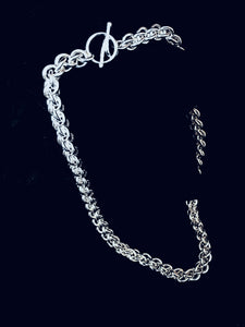 Side View - Seaxwolf thick link chain necklace for men and women in solid 925 sterling silver from handmade links and handcrafted toggle clasp.