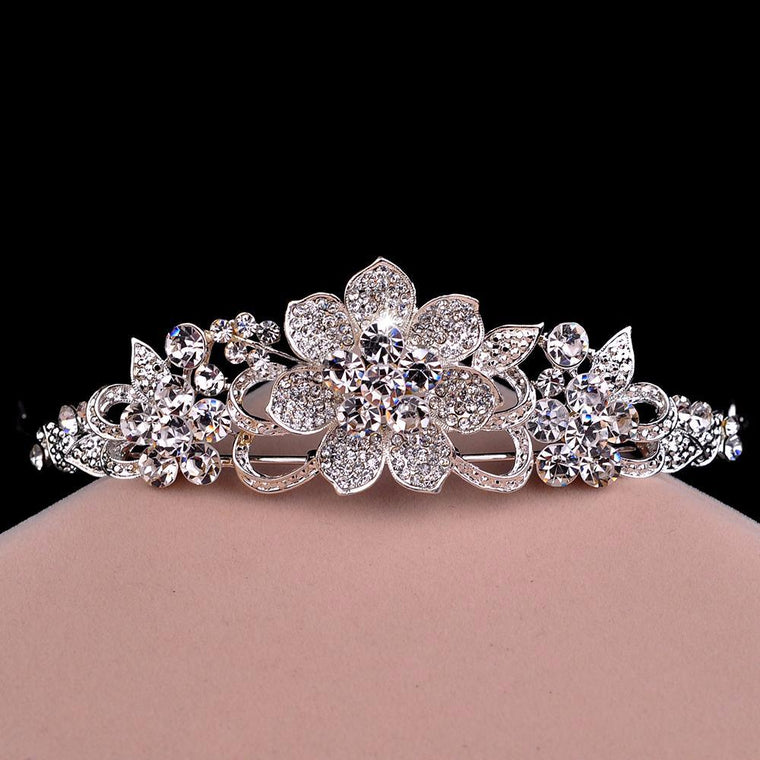 Floral Clear Rhinestone Crown