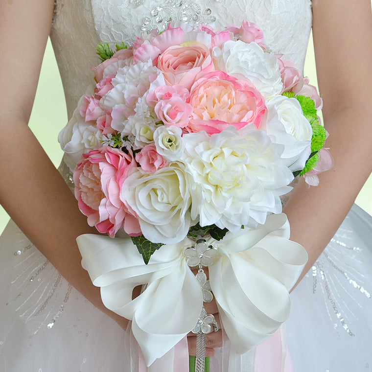 White & Pink Roses Flower Bouquet