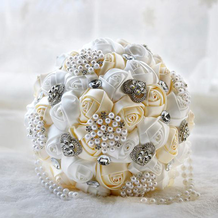 Pearls & Satin Flowers Bridal Bouquet
