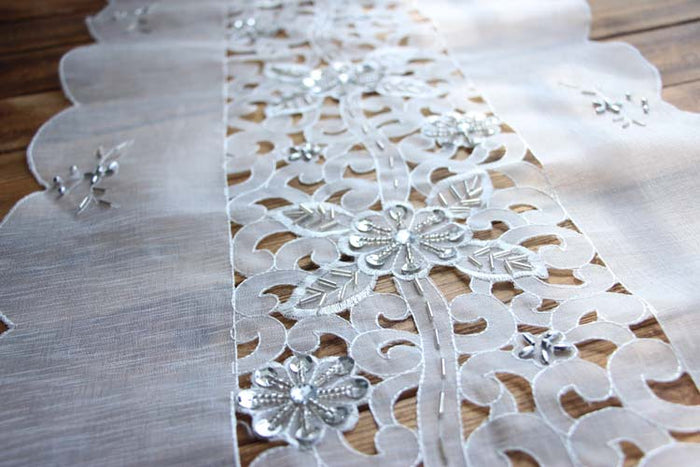 Table Runner Embellished with Sequins