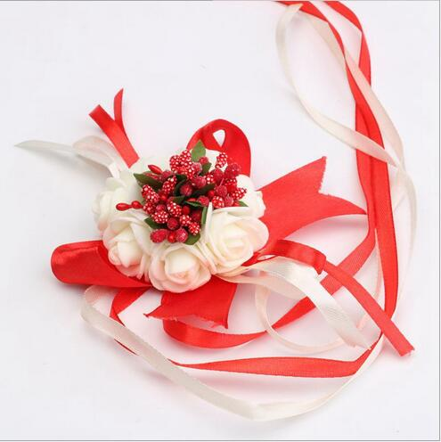 White Rose & Red Ribbon Corsage