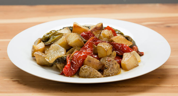 Roasted peppers, potatoes and onions  - cost per single serving