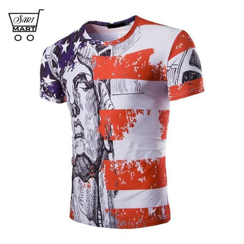 Best Men's Plus Size 4th of July T-shirts Online Sales - Best Slim 3D Printed 4th of July Men's T-shirts with O-neck style will suit perfectly with your casual wears, especially with jeans. It is a perfect gift of USA Independence Day too. Broad design collection let you choose your favorite one – SartMart